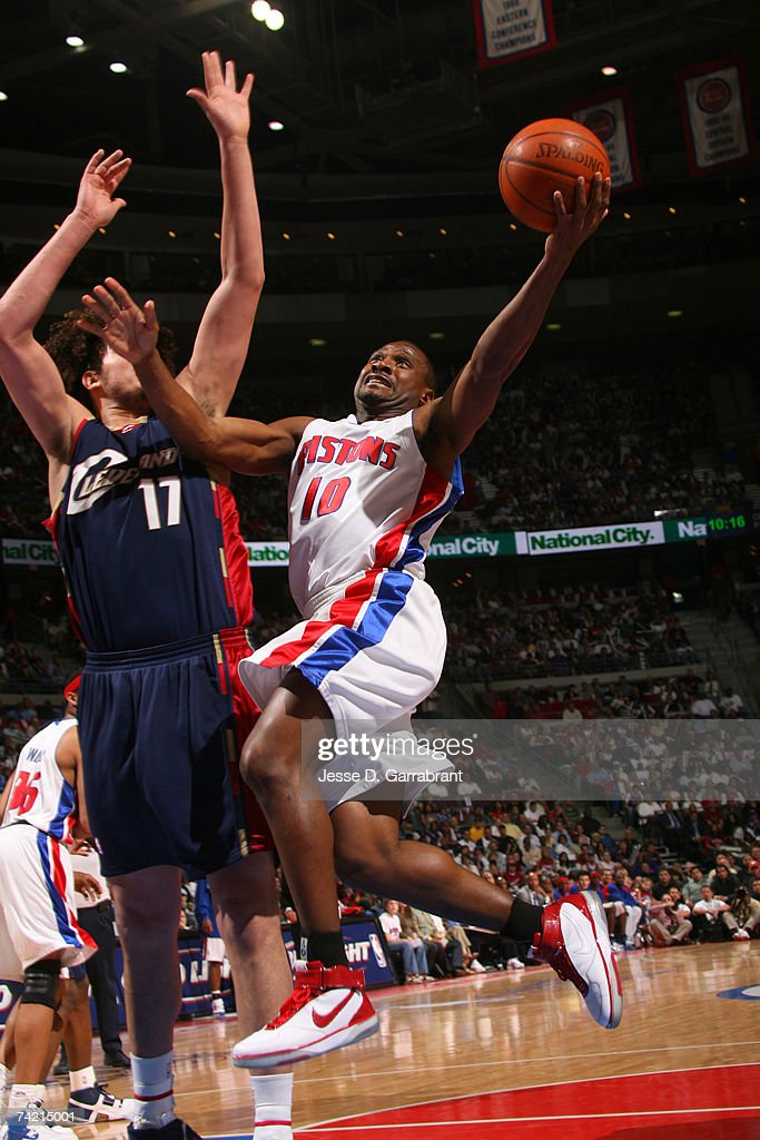 Lindsey Hunter #10 of the Detroit Pistons shoots against the Cleveland Cavaliers in Game One of the Eastern Conference Finals during the 2007 NBA Playoffs on May 21, 2007 at The Palace at Auburn Hills in Auburn Hills, Michigan.