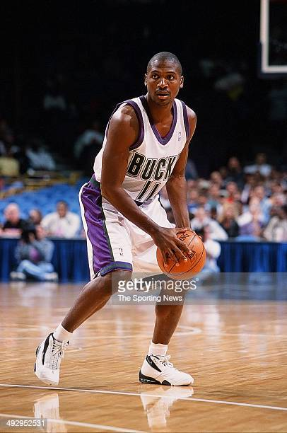Lindsey Hunter of the Milwaukee Bucks handles the ball during the preseason game against the Minnesota Timberwolves on October 22 2000 at the Bradley...