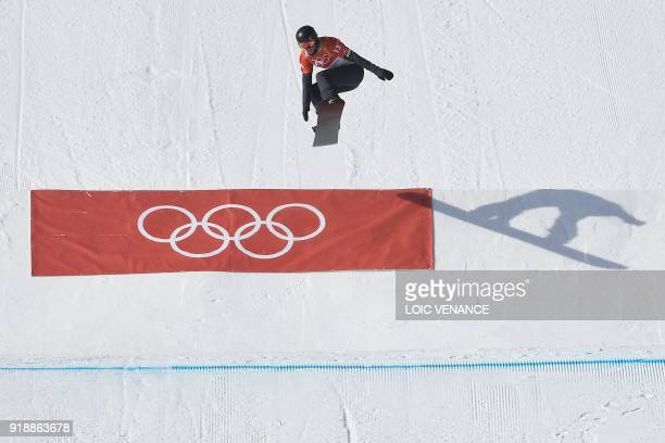 Lindsey Jacobellis competes the qualifying session of the women's snowboard cross event at the Phoenix Park during the Pyeongchang 2018 Winter...