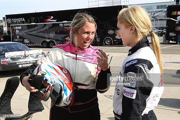 Lindsey Katz of Kalamazoo Michigan and Paige Decker of Eagle River Wisconsin talk during the NASCAR Drive For Diversity Combine at Langley Speedway...
