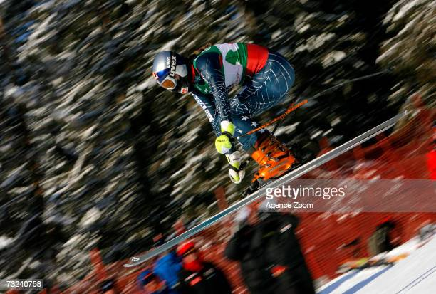 Lindsey Kildow of the USA in action during the FIS Alpine Ski World Championships Women's downhill training on February 7 2007 in Are Sweden