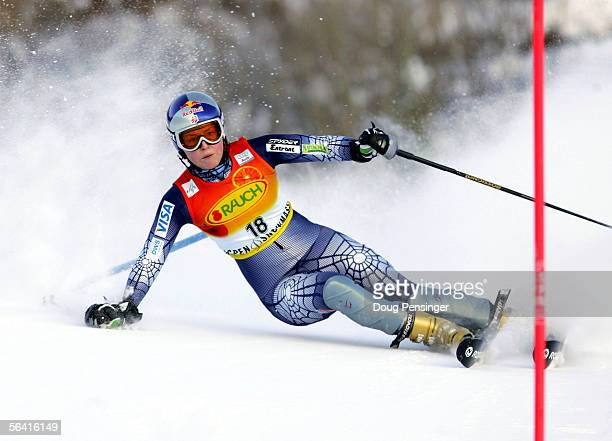 Lindsey Kildow of the USA recovers from a bad turn and managed to stay on course during her second run on her way to 30th place in the FIS Alpine...