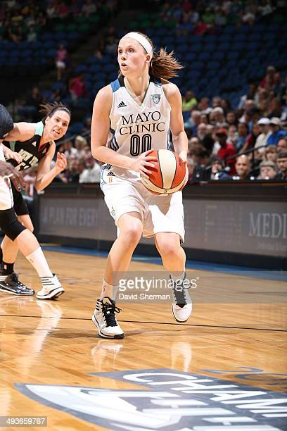 Lindsey Moore Minnesota Lynx looks to shoot against the New York Liberty during the WNBA game on May 24 2014 at Target Center in Minneapolis...