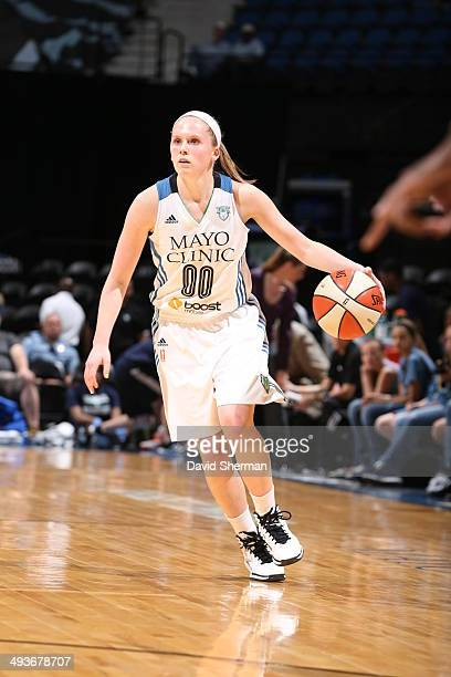 Lindsey Moore of the Minnesota Lynx moves up court against the New York Liberty during the WNBA game on May 24 2014 at Target Center in Minneapolis...