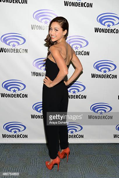 Lindsey Morgan attends The 100 press line at WonderCon Anaheim 2014 Day 2 at Anaheim Convention Center on April 19 2014 in Anaheim California