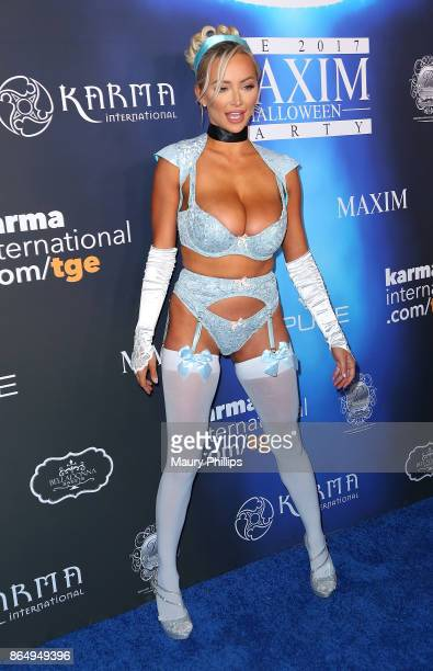 Lindsey Pelas arrives at the 2017 Maxim Halloween Party at Los Angeles Center Studios on October 21 2017 in Los Angeles California
