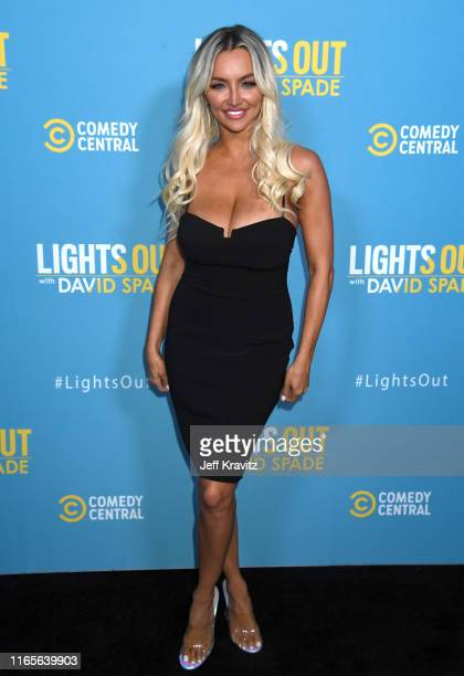 Lindsey Pelas attends Comedy Central's Lights Out With David Spade new latenight series premiere party at Nightingale Plaza on August 01 2019 in Los...