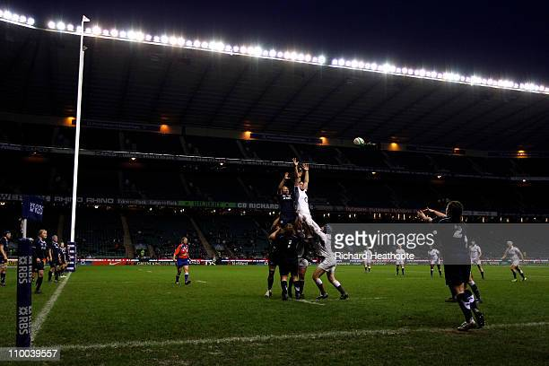 Lindsey Smith of Scotland throws the ball into play during the Womens Six Nations Championship match between England and Scotland at Twickenham...