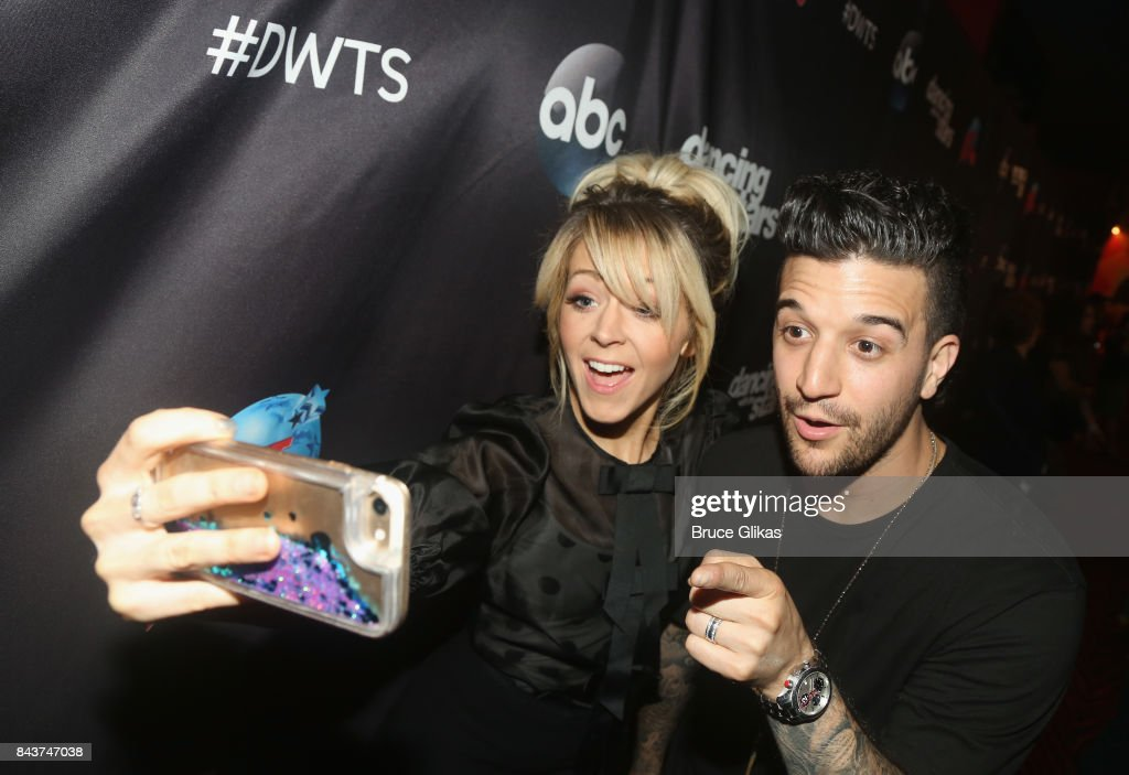 Lindsey Stirling and Mark Ballas pose at ABC's 'Dancing with the Stars' Season 5 cast announcement event at Planet Hollywood Times Square on September 6, 2017 in New York City.