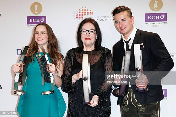 Lindsey Stirling Nana Mouskouri and Andreas Gabalier attend the Echo Award 2015 After Show Party on March 26 2015 in Berlin Germany