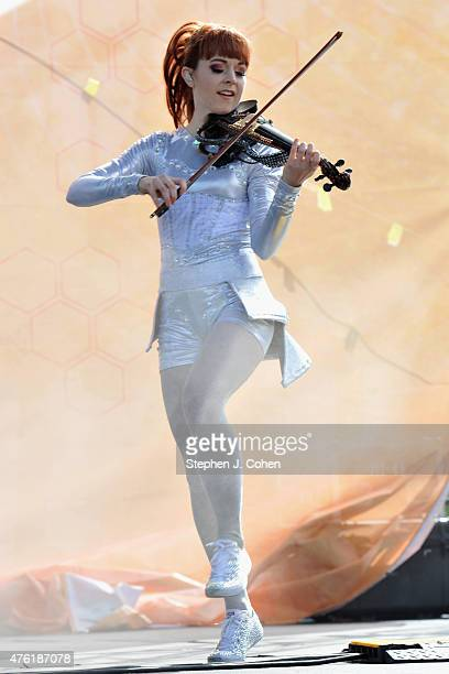 Lindsey Stirling performs during day 2 of Bunbury Music Festival on June 6 2015 in Cincinnati Ohio
