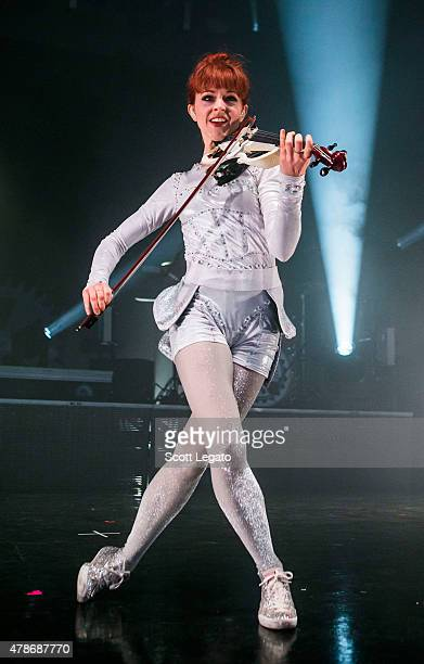 Lindsey Stirling performs during The Music Box Tour at Meadow Brook Music Theater on June 26 2015 in Rochester Michigan