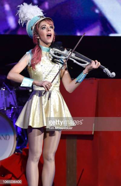Lindsey Stirling performs during The Wanderland Tour at Golden 1 Center on November 24 2018 in Sacramento California