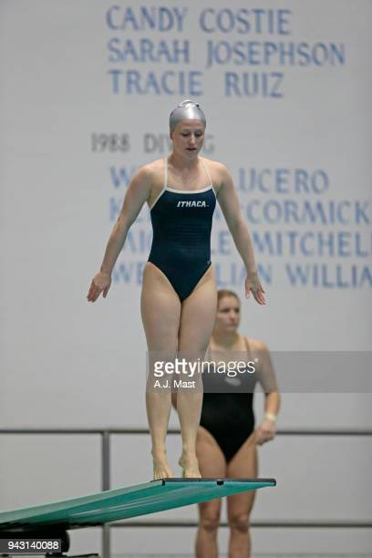 Lindsey Suddaby of Ithaca College competes in the 3 meter springboard during the Division III Men's and Women's Swimming Diving Championships held at...