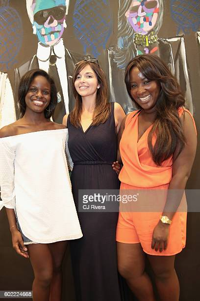 Lindsey Toler Brooke Bailey and Michelle Yeboah attend the Shop Happy Hour during New York Fashion Week The Shows September 2016 at Skylight at...