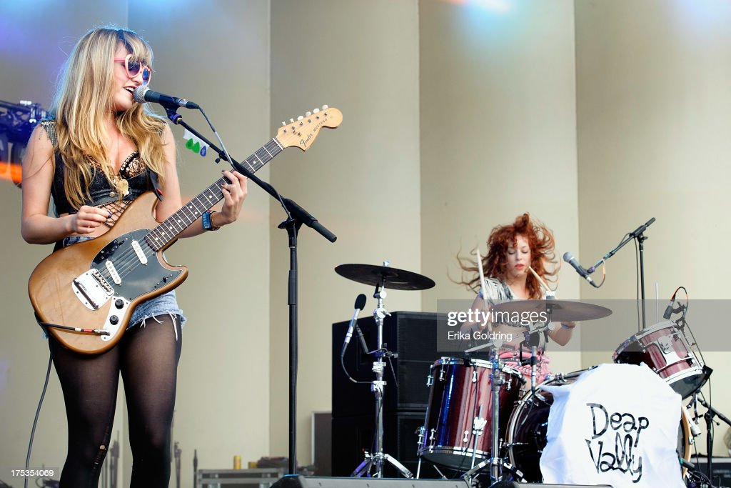 Lindsey Troy and Julie Edwards of Deap Valley perform during Lollapalooza 2013 at Grant Park on August 2, 2013 in Chicago, Illinois.