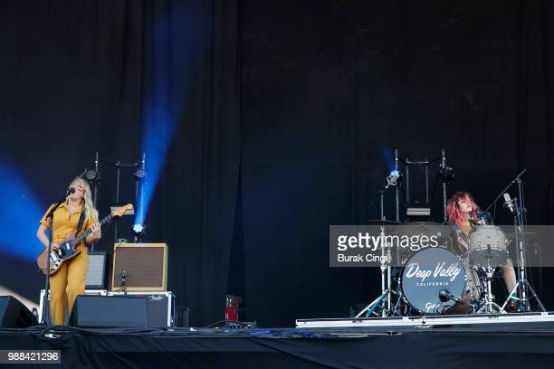Lindsey Troy and Julie Edwards of Deap Vally perform at the Queens of the Stone Age and Friends show at Finsbury Park on June 30 2018 in London...
