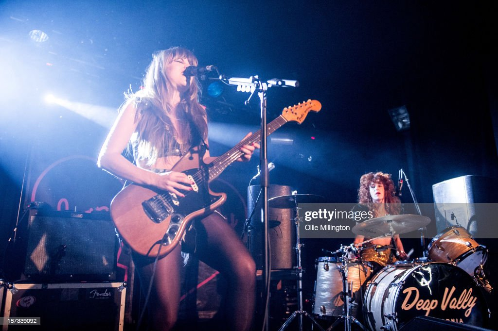 Lindsey Troy (L) and Julie Edwards of Deap Vally perform during the bands November 2013 UK tour at 02 Academy on November 7, 2013 in Birmingham, England.