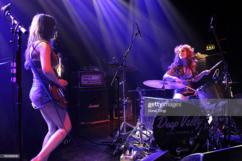 Lindsey Troy and Julie Edwards of Deap Vally perform on stage as part of the NME Awards series of concerts at O2 Shepherd's Bush Empire on February 22, 2013 in London, England.
