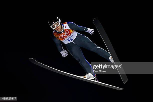 Lindsey Van of the United States competes during the Ladies' Normal Hill Individual trial on day 4 of the Sochi 2014 Winter Olympics at the RusSki...
