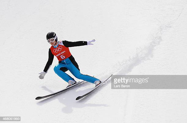 Lindsey Van of the United States lands her jump during the Ladies' Normal Hill Individual Ski Jumping training on day 2 of the Sochi 2014 Winter...