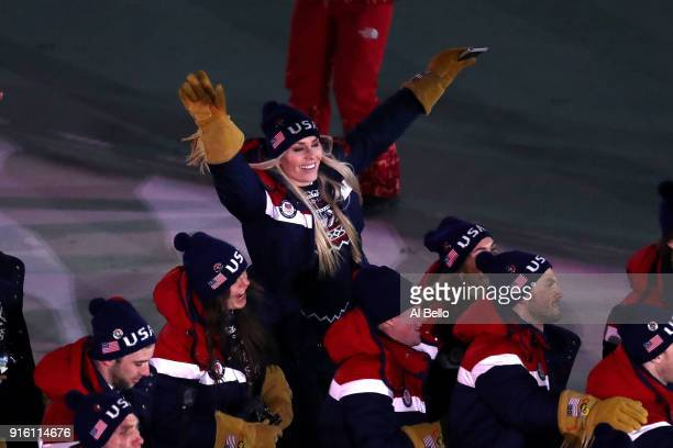 Lindsey Vonn Alpine Skiier and The United States enter the stadium during the Opening Ceremony of the PyeongChang 2018 Winter Olympic Games at...