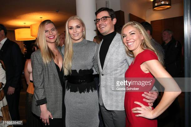 Lindsey Vonn and her sister Karin Kildow brother Reed Kildow sister Laura Kildow during the Schwarzenegger climate initiative charity dinner prior...