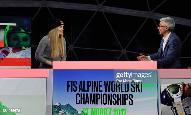 Lindsey Vonn and Jonathan Edwards during the Lindsey Vonn visits the Eurosport studio in St Moritz for an interview by lead presenter and former...