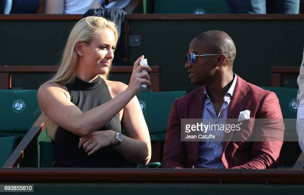 Lindsey Vonn and Kenan Smith attend day 12 of the 2017 French Open second Grand Slam of the season at Roland Garros stadium on June 8 2017 in Paris...