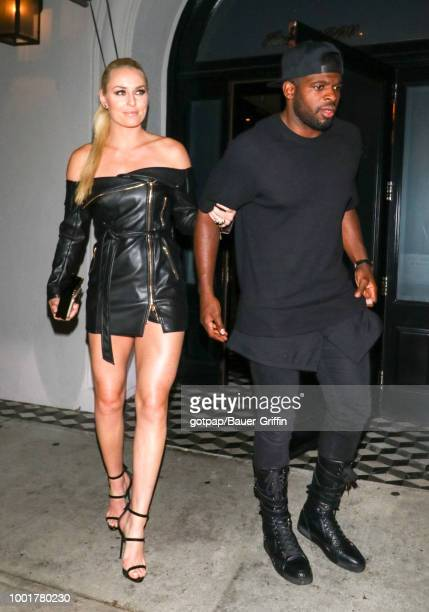 Lindsey Vonn and P K Subban are seen on July 18 2018 in Los Angeles California