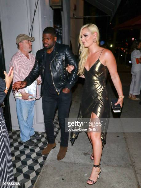 Lindsey Vonn and PK Subban are seen on July 12 2018 in Los Angeles California