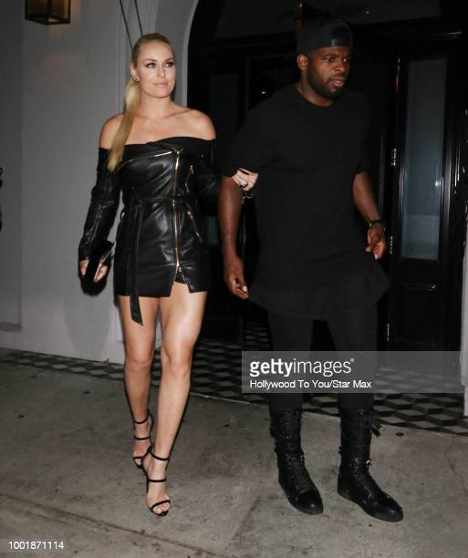 Lindsey Vonn and PK Subban are seen on July 18 2018 in Los Angeles CA
