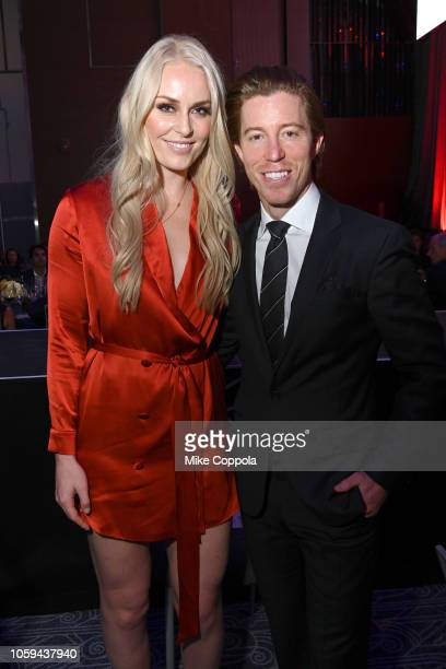 Lindsey Vonn and Shaun White attend the Gold Medal Gala at The Ziegfeld Ballroom on October 25 2018 in New York City