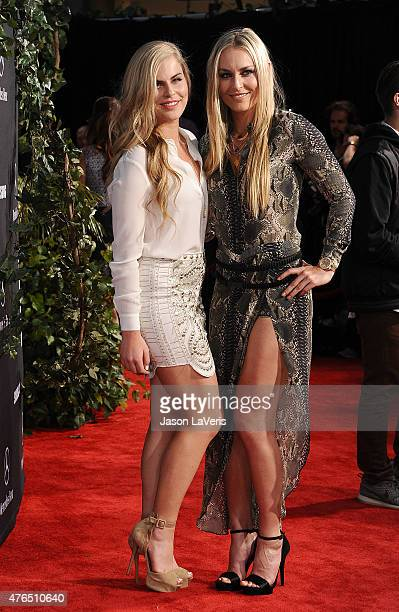 Lindsey Vonn and sister Karin Kildow attend the premiere of Jurassic World at Dolby Theatre on June 9 2015 in Hollywood California