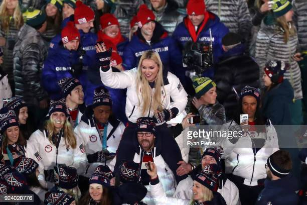Lindsey Vonn and Team United States participate in the Parade of Athletes during the Closing Ceremony of the PyeongChang 2018 Winter Olympic Games at...