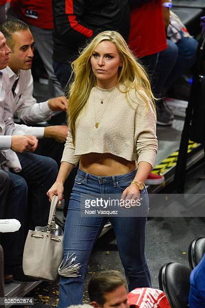 Lindsey Vonn attends a basketball game between the Portland Trail Blazers and the Los Angeles Clippers at Staples Center on April 27 2016 in Los...