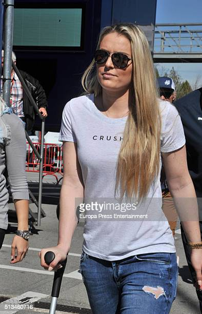 Lindsey Vonn attends day two of F1 winter testing at Circuit de Catalunya on March 2 2016 in Montmelo Spain