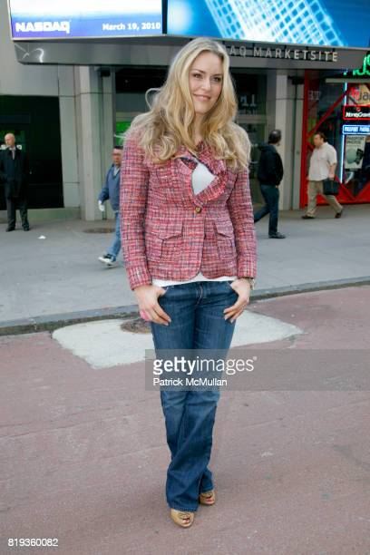 Lindsey Vonn attends NASDAQ Opening Bell ceremony with LINDSEY VONN wearing TORY BURCH at NASDAQ Market Site on March 19 2010 in New York