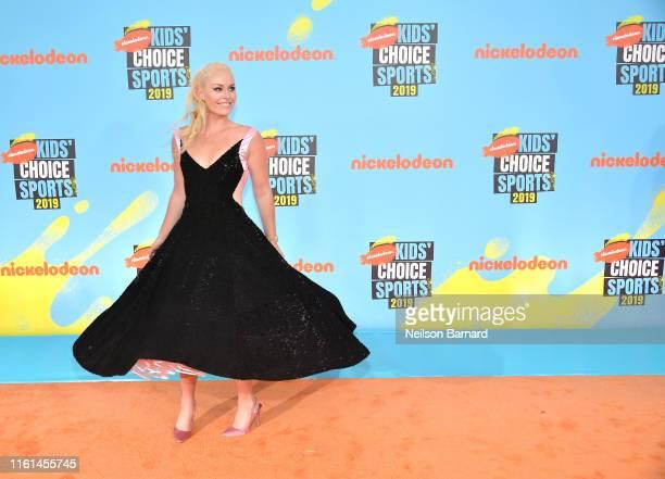 Lindsey Vonn attends Nickelodeon Kids' Choice Sports 2019 at Barker Hangar on July 11, 2019 in Santa Monica, California.