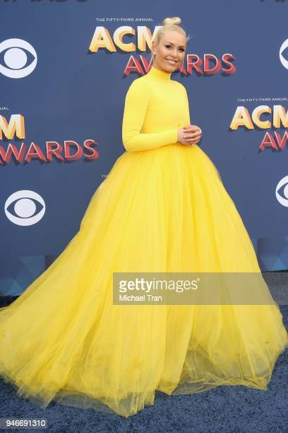 Lindsey Vonn attends the 53rd Academy of Country Music Awards at MGM Grand Garden Arena on April 15 2018 in Las Vegas Nevada