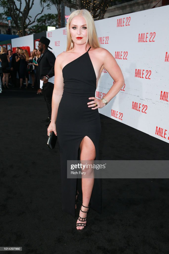 Lindsey Vonn attends the premiere of STX Films' 'Mile 22' at Westwood Village Theatre on August 9, 2018 in Westwood, California.