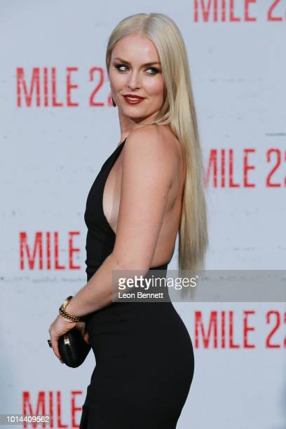 Lindsey Vonn attends the Premiere Of STX Films' Mile 22 at Westwood Village Theatre on August 9 2018 in Westwood California