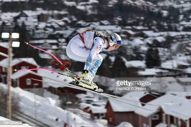 Lindsey Vonn competes during the Women's Downhill event of the 2019 FIS Alpine Ski World Championships at the National Arena in Are Sweden on...