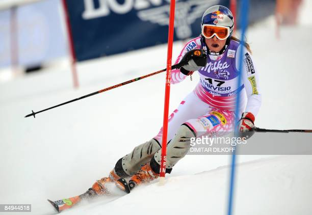 Lindsey Vonn competes during the women's super combined slalom at the FIS ski World Cup in Tarvisio on February 20, 2009. Germany's Maria Riesch won...