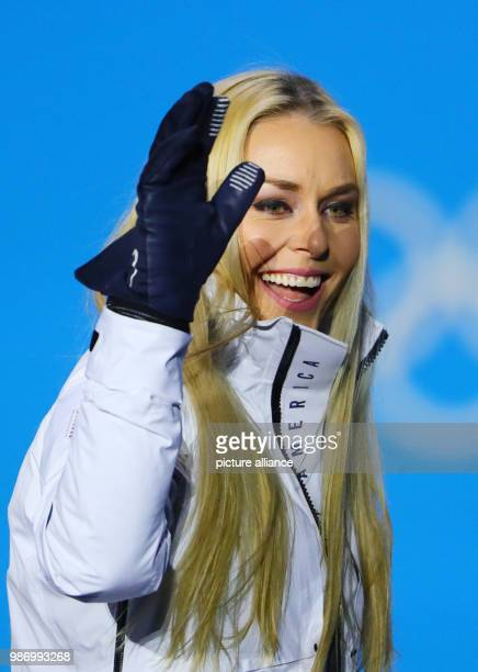 Lindsey Vonn from the US standing on the podium during the award ceremony of the women's alpine skiing event of the 2018 Winter Olympiucs in...