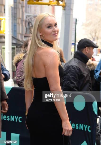 Lindsey Vonn is seen leaving aol live in soho on February 21 2019 in New York City