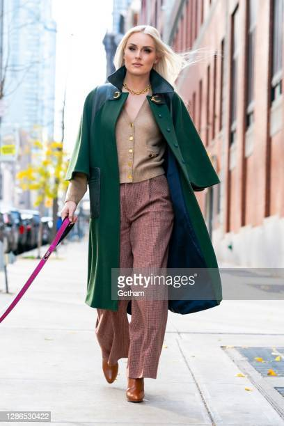 """Lindsey Vonn is seen promoting her new show """"The Pack"""" wearing Gucci in Midtown on November 19, 2020 in New York City."""