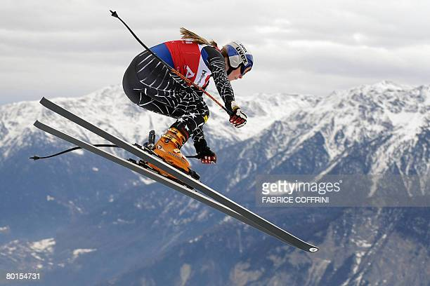 US Lindsey Vonn jumps during the second women's downhill practice at the FIS alpine skiing World cup on March 7 2008 in CransMontana AFP PHOTO /...