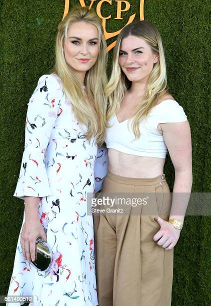 Lindsey Vonn Karin Kildow arrives at the 8th Annual Veuve Clicquot Polo Classic at Will Rogers State Historic Park on October 14 2017 in Pacific...
