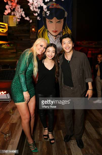 Lindsey Vonn Maia Shibutani and Alex Shibutani attend Red Bull's Celebration of Lindsey Vonn at Liaison Restaurant on July 09 2019 in Los Angeles...